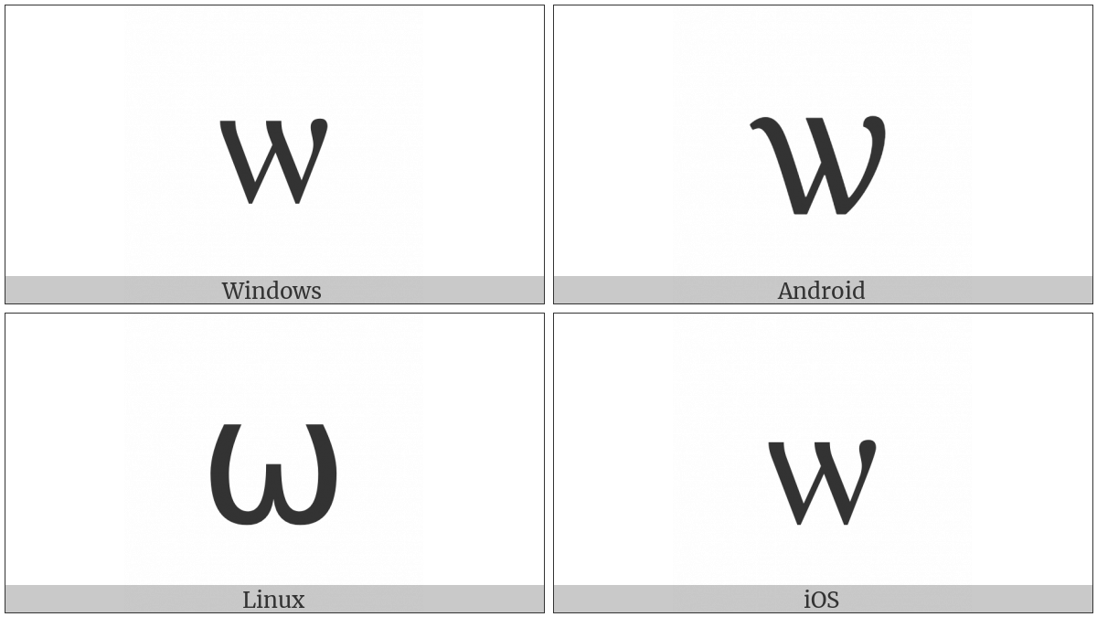 Cyrillic Small Letter Omega on various operating systems