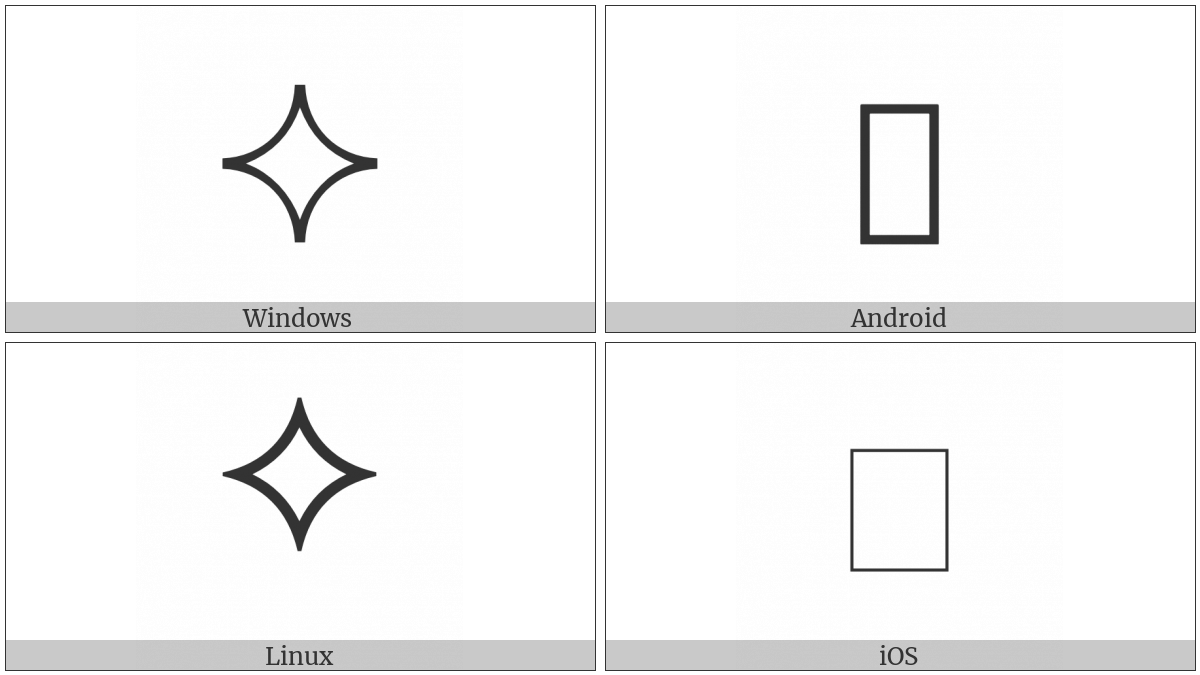 White Four Pointed Cusp on various operating systems