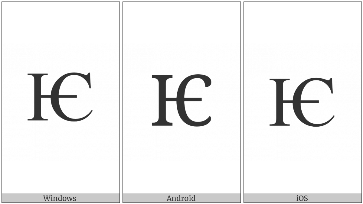 Cyrillic Capital Letter Iotified E on various operating systems