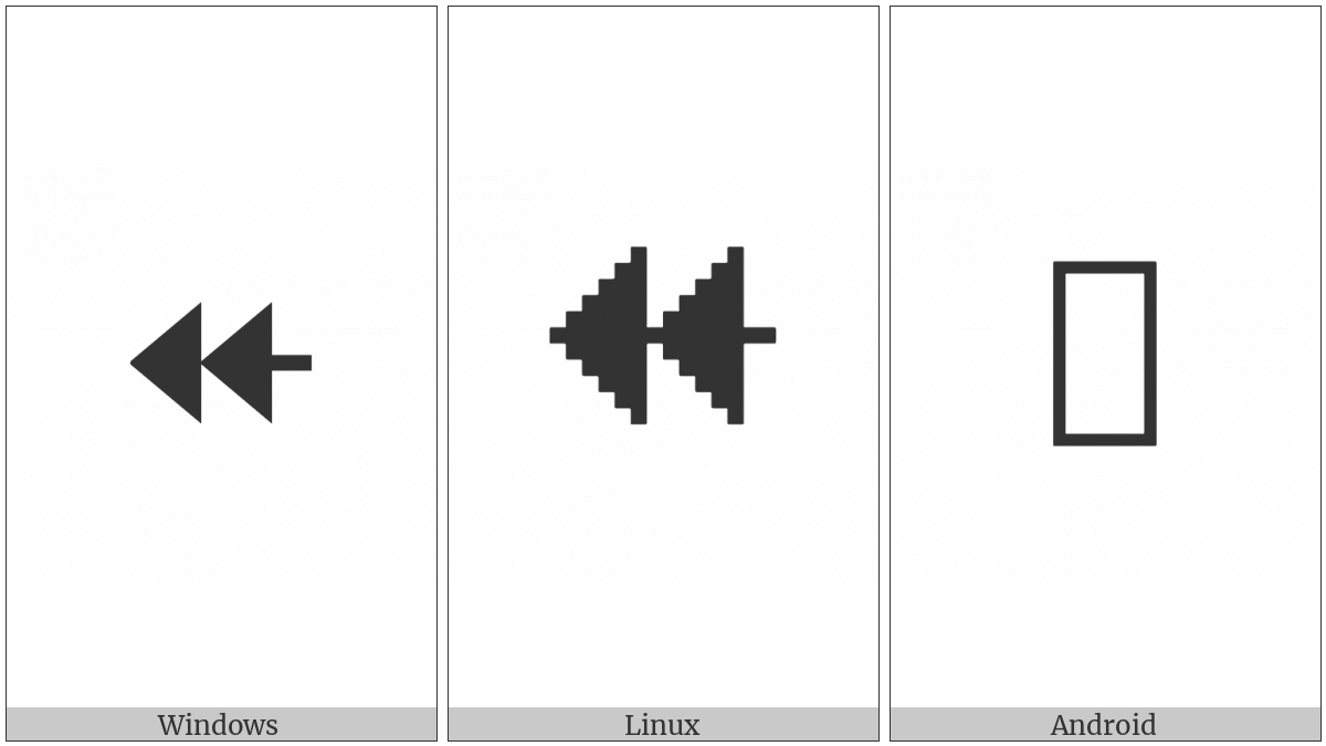 Leftwards Two-Headed Arrow With Triangle Arrowheads on various operating systems