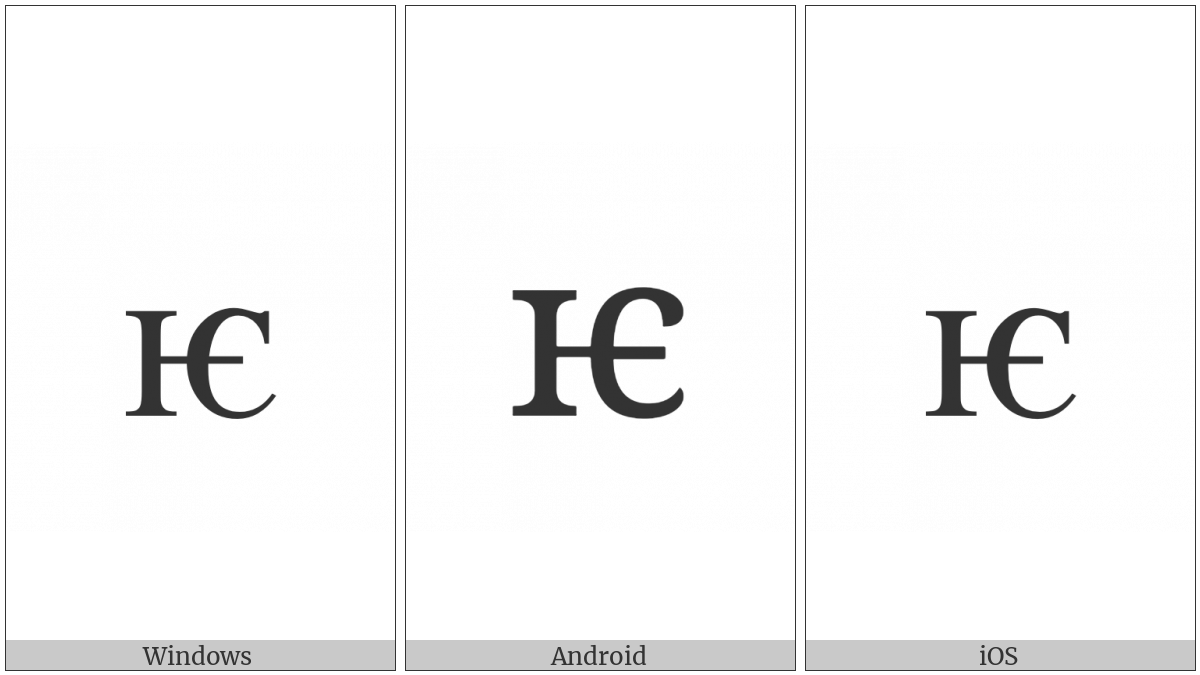 Cyrillic Small Letter Iotified E on various operating systems