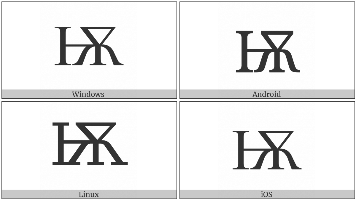 Cyrillic Capital Letter Iotified Big Yus on various operating systems