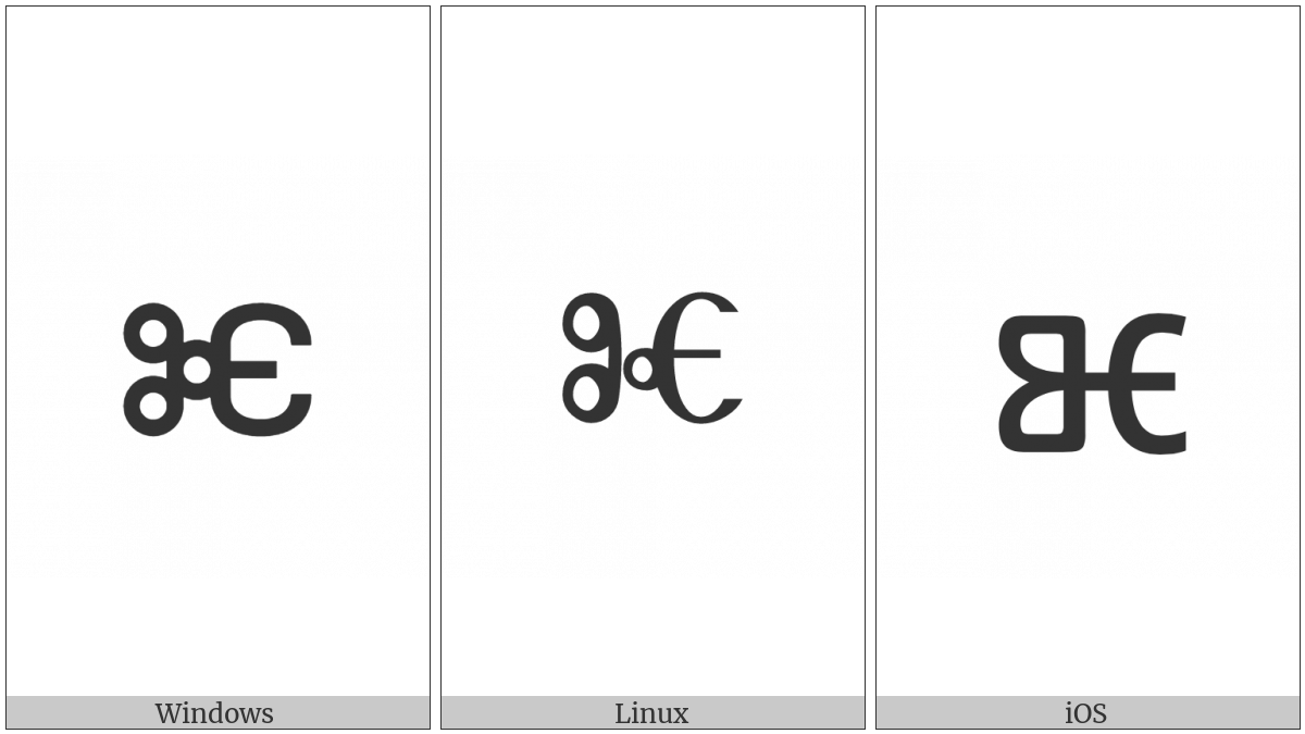 Glagolitic Small Letter Big Yus on various operating systems