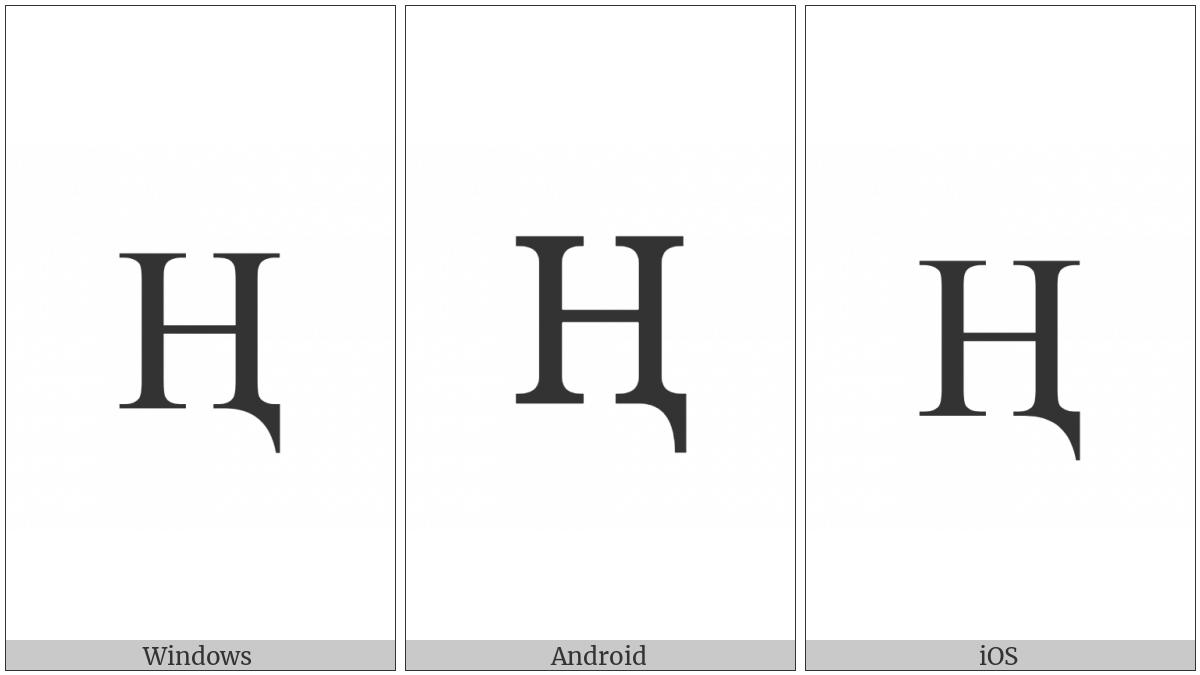 Latin Capital Letter H With Descender on various operating systems
