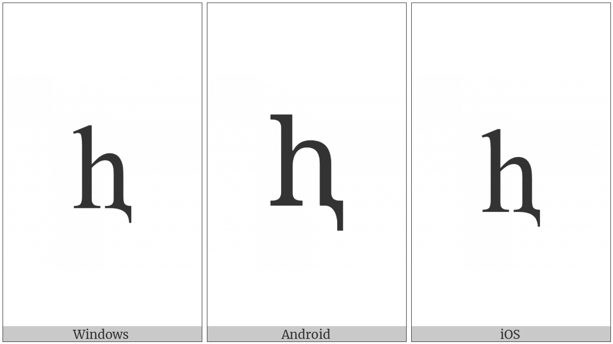 Latin Small Letter H With Descender on various operating systems