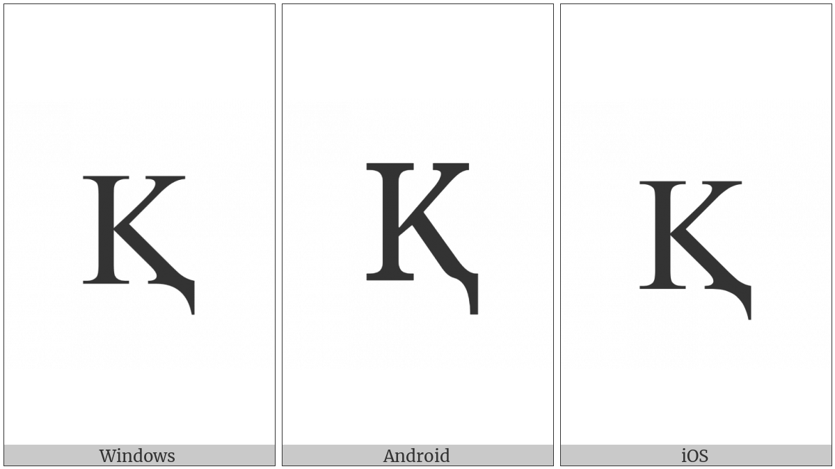 Latin Capital Letter K With Descender on various operating systems