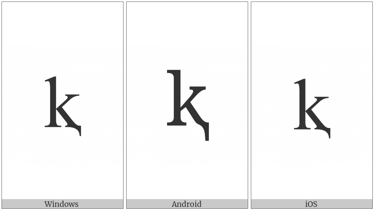 Latin Small Letter K With Descender on various operating systems