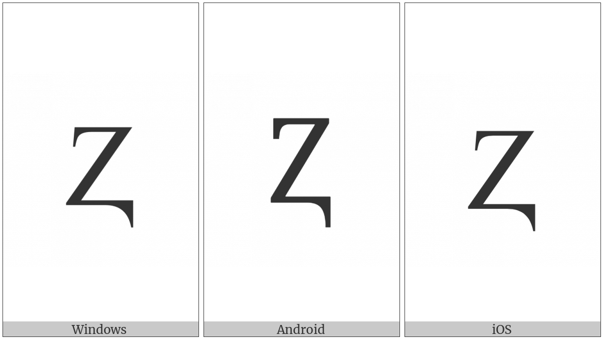 Latin Capital Letter Z With Descender on various operating systems