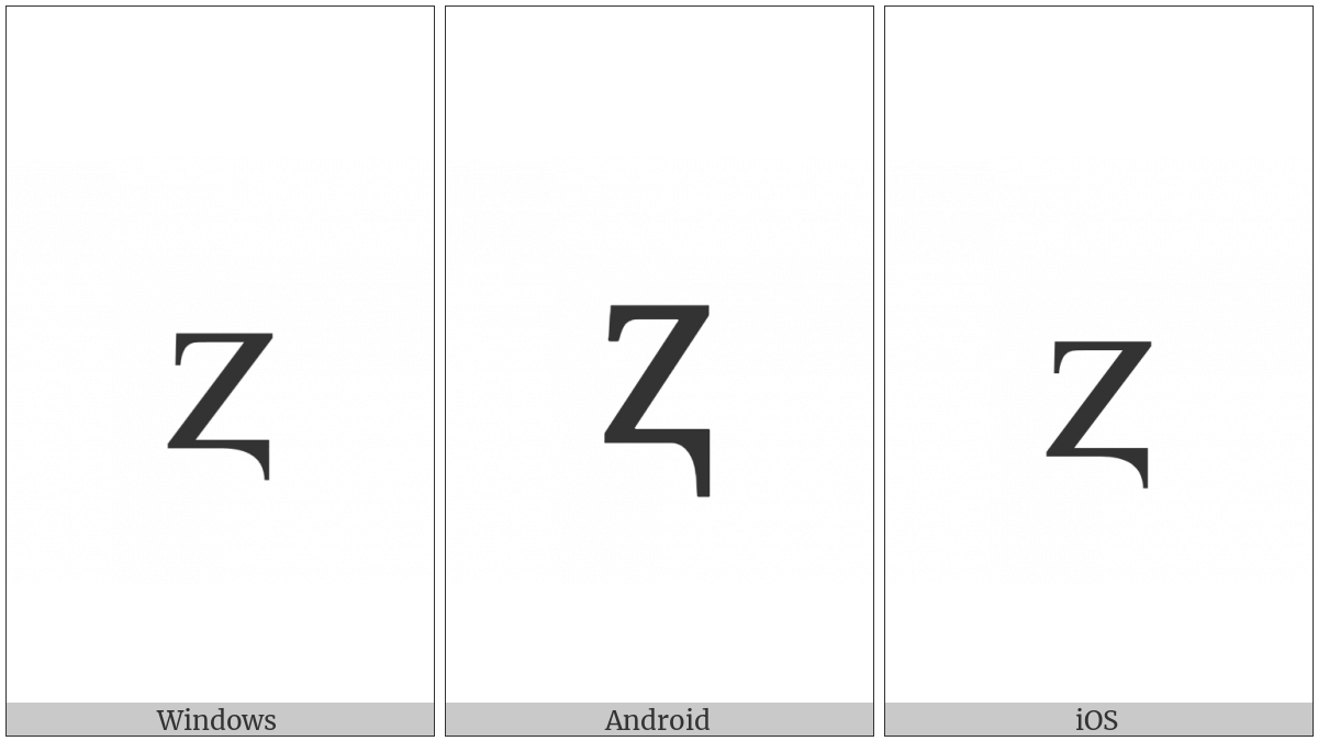 Latin Small Letter Z With Descender on various operating systems