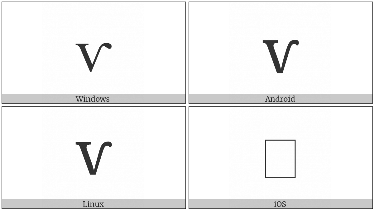 Latin Small Letter V With Right Hook on various operating systems