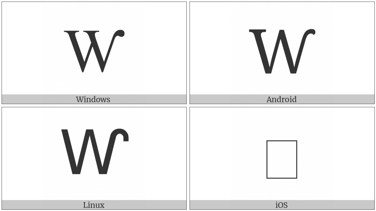 Latin Capital Letter W With Hook on various operating systems