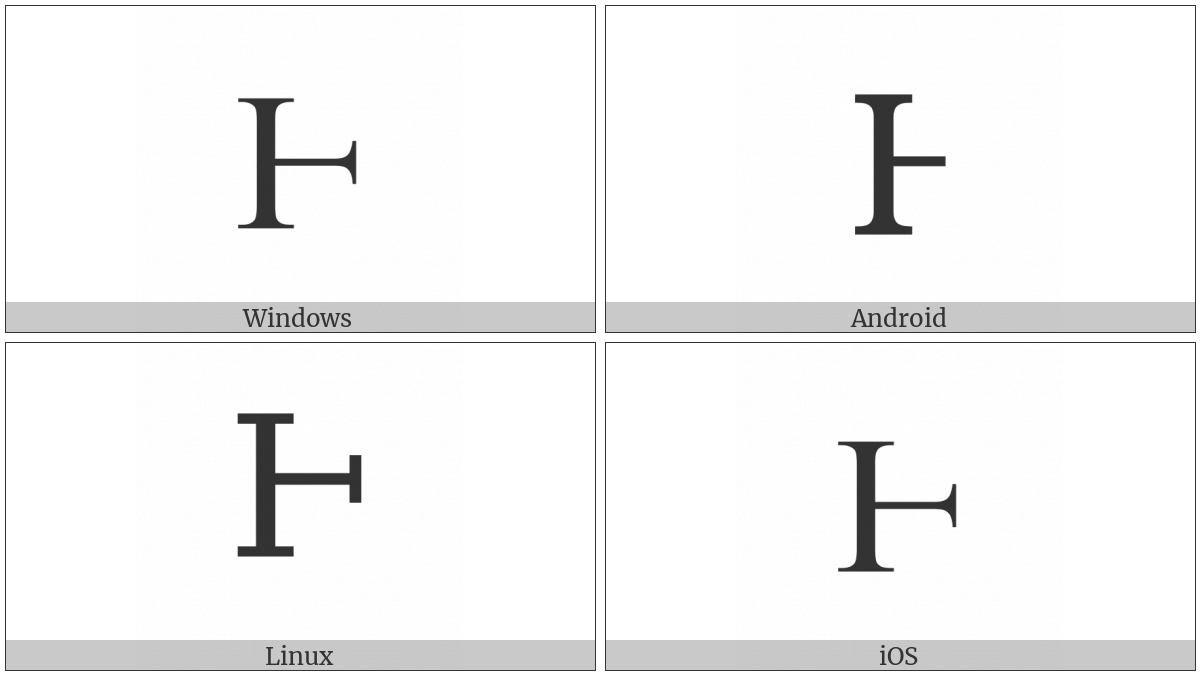 Latin Capital Letter Half H on various operating systems