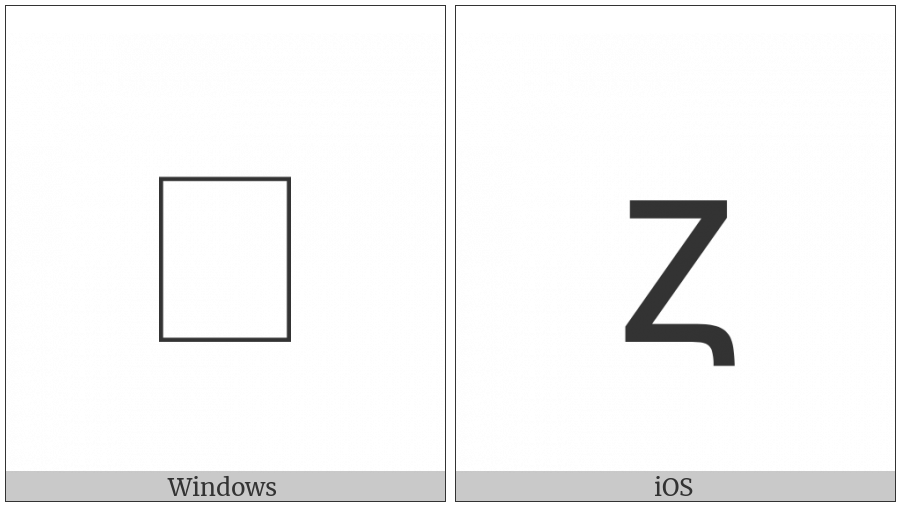 Coptic Small Letter Zata on various operating systems