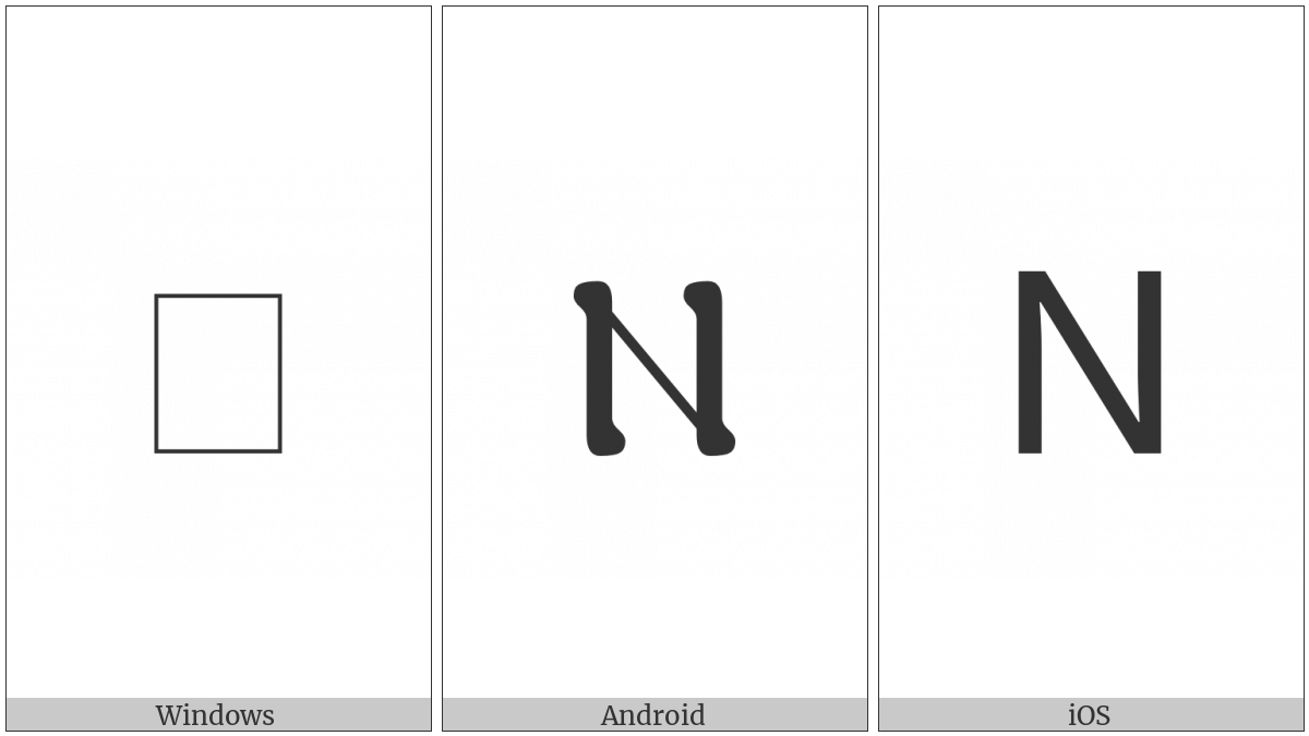 Coptic Capital Letter Ni on various operating systems