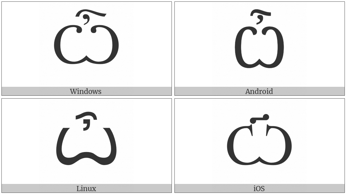 Cyrillic Capital Letter Omega With Titlo on various operating systems