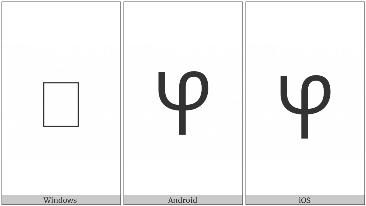 Coptic Capital Letter Old Nubian Nyi on various operating systems