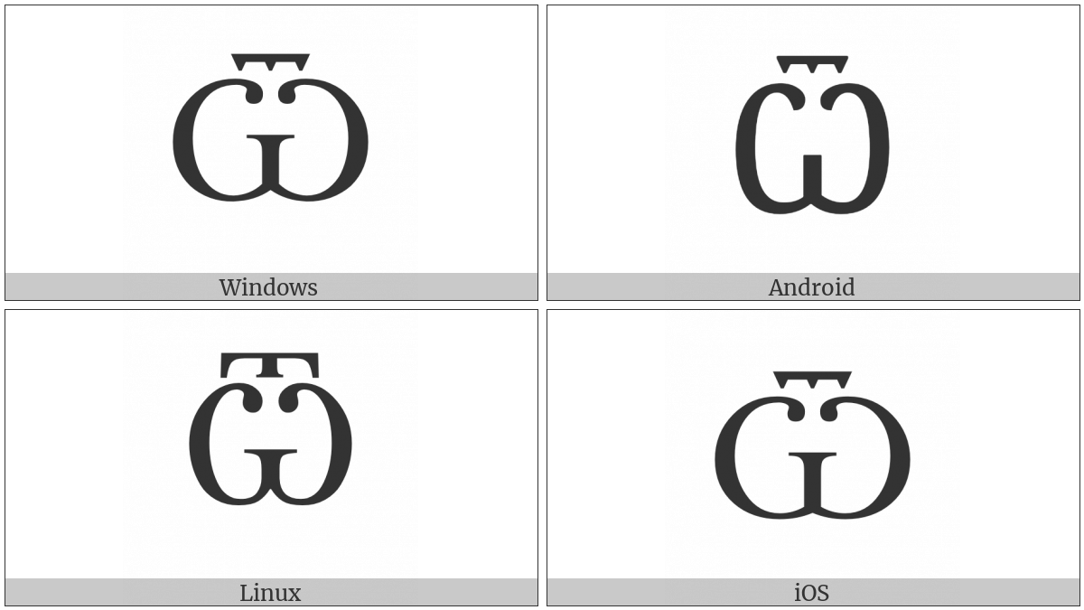 Cyrillic Capital Letter Ot on various operating systems