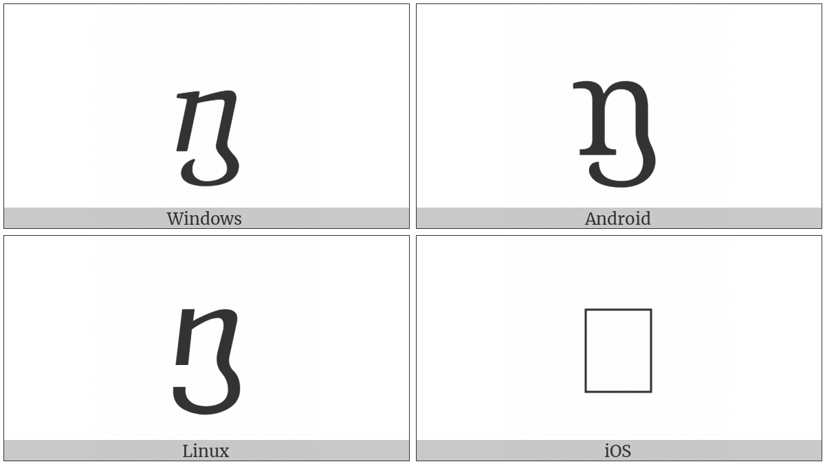 Georgian Small Letter Gan on various operating systems