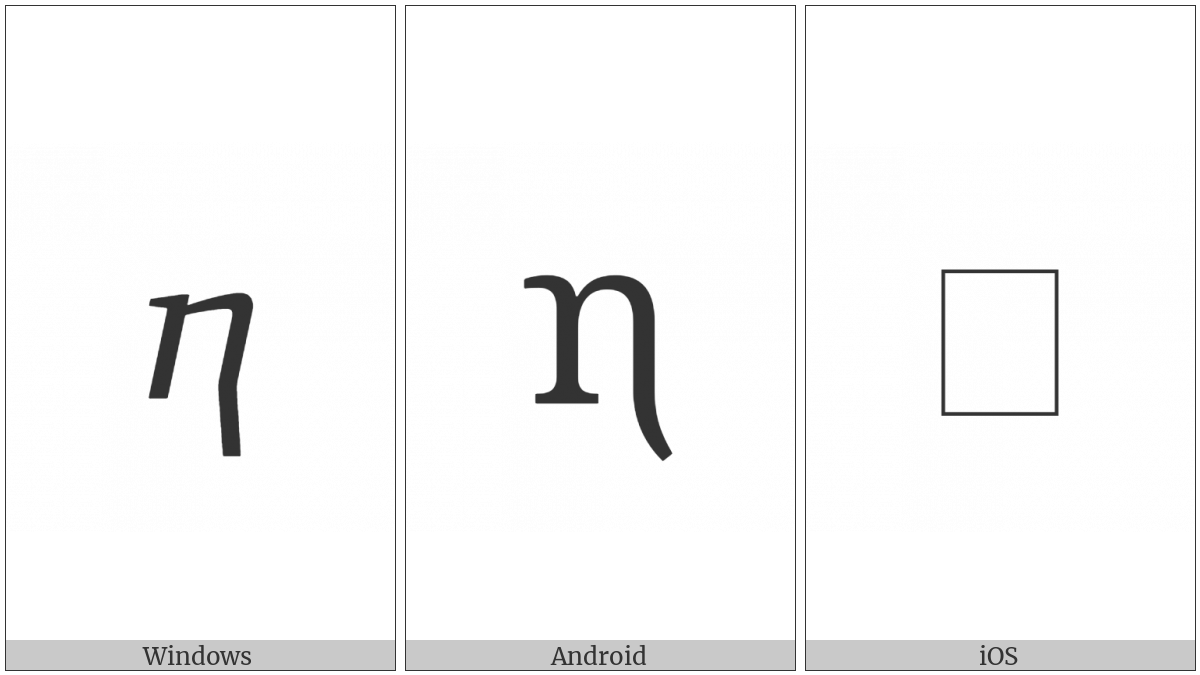 Georgian Small Letter En on various operating systems