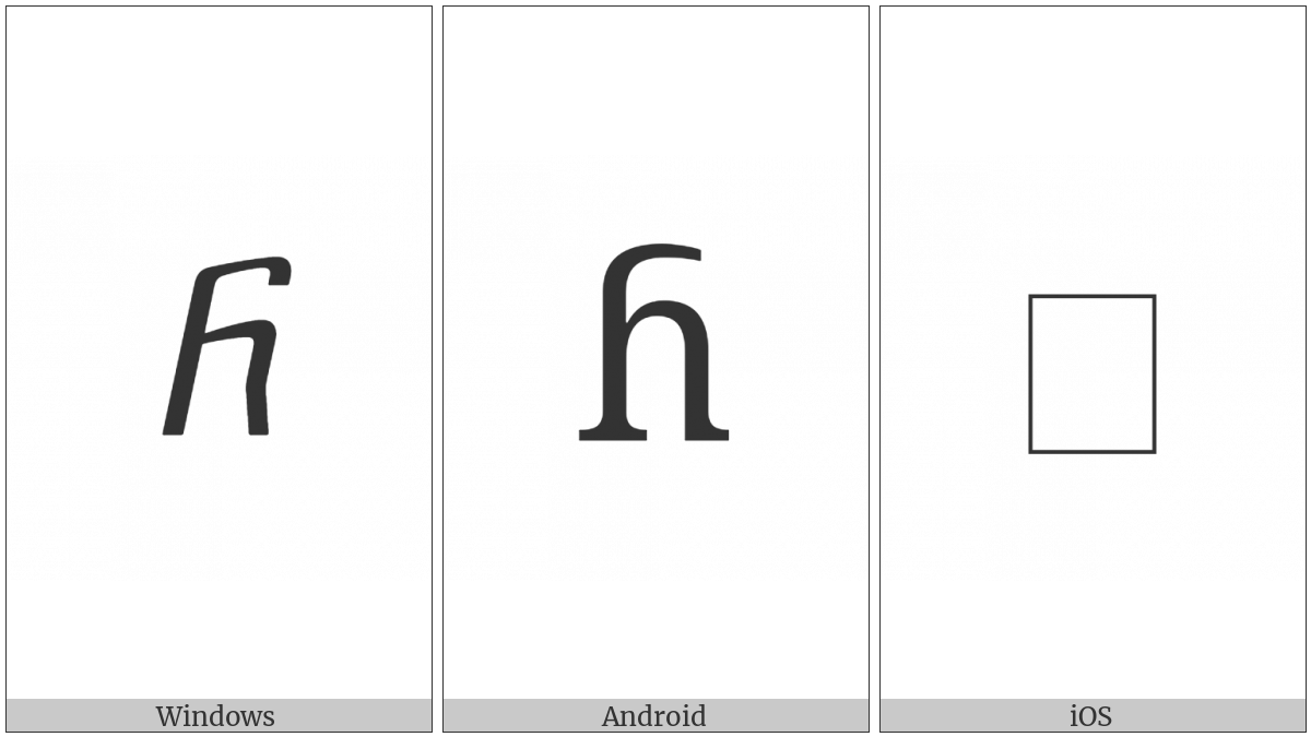 Georgian Small Letter Nar on various operating systems
