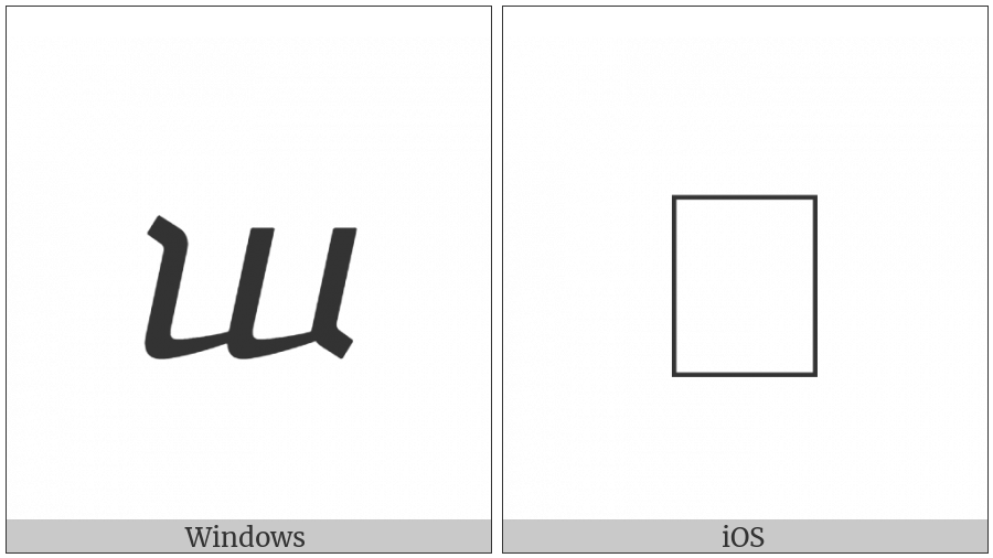 Georgian Small Letter On on various operating systems