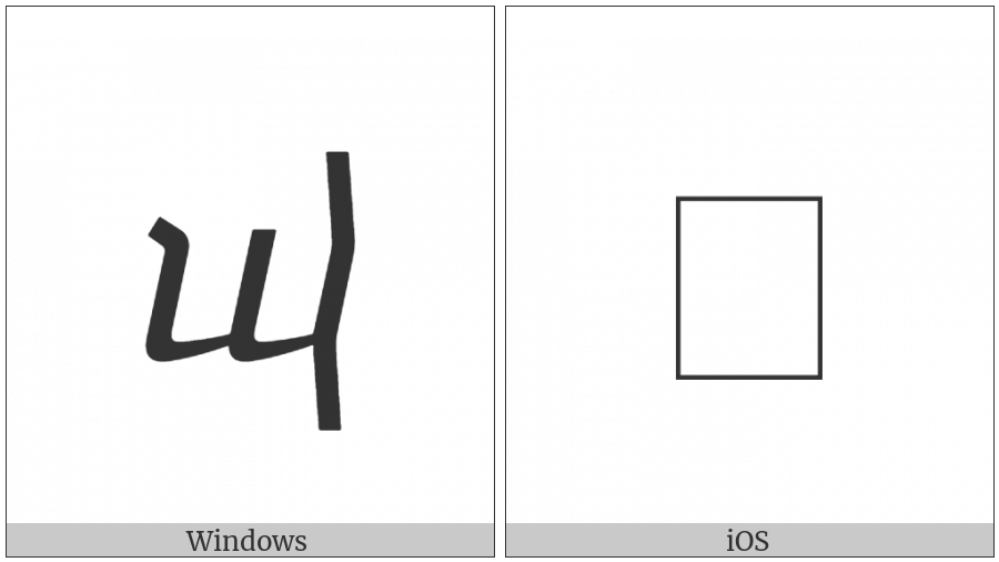 Georgian Small Letter Un on various operating systems
