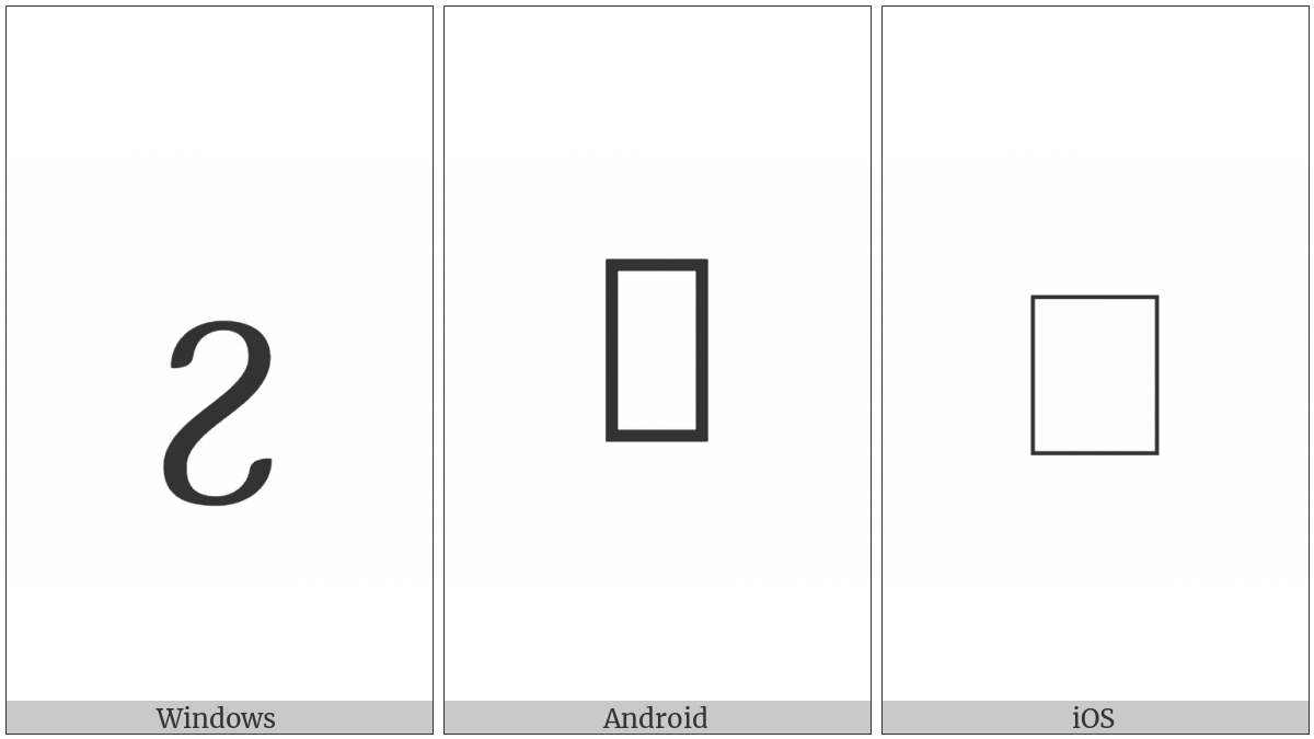 Georgian Small Letter Yn on various operating systems