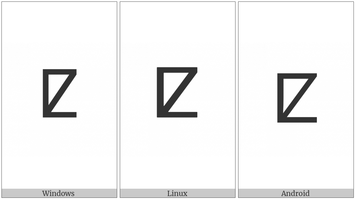 Tifinagh Letter Yaq on various operating systems