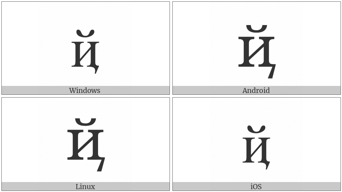 Cyrillic Small Letter Short I With Tail on various operating systems