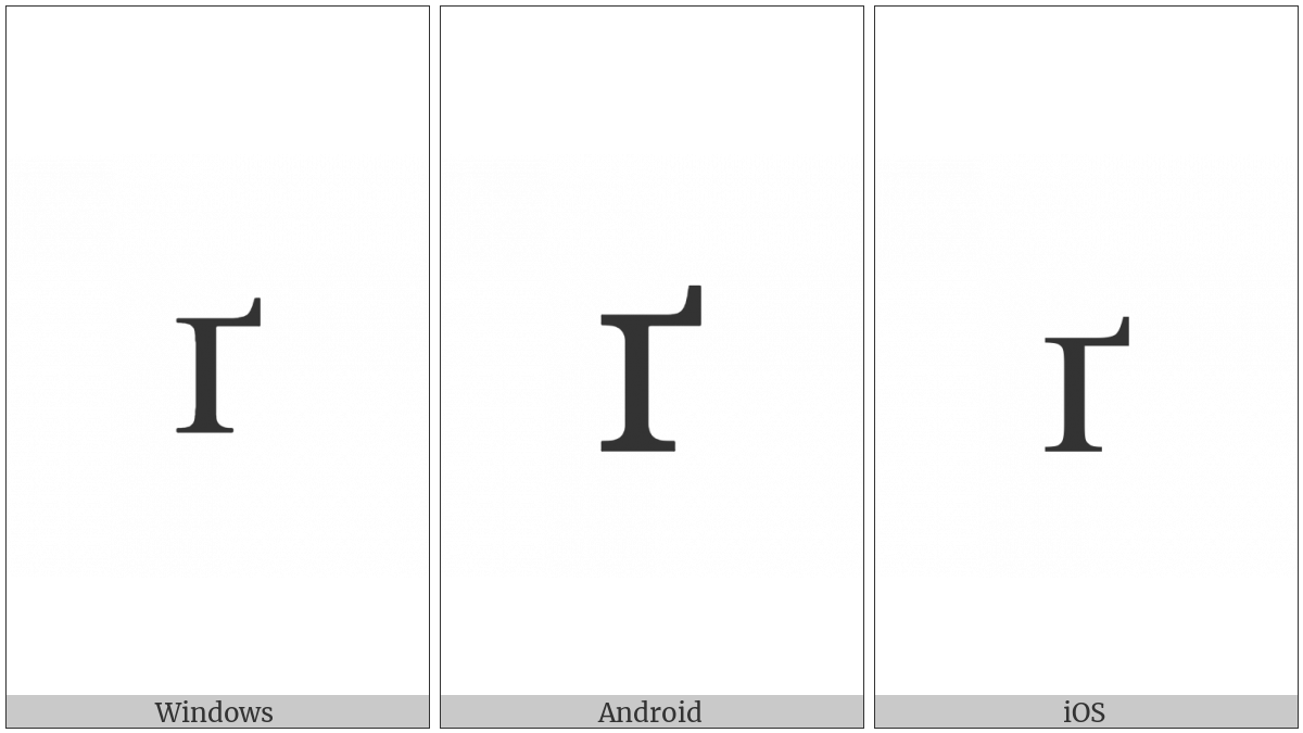 Cyrillic Small Letter Ghe With Upturn on various operating systems