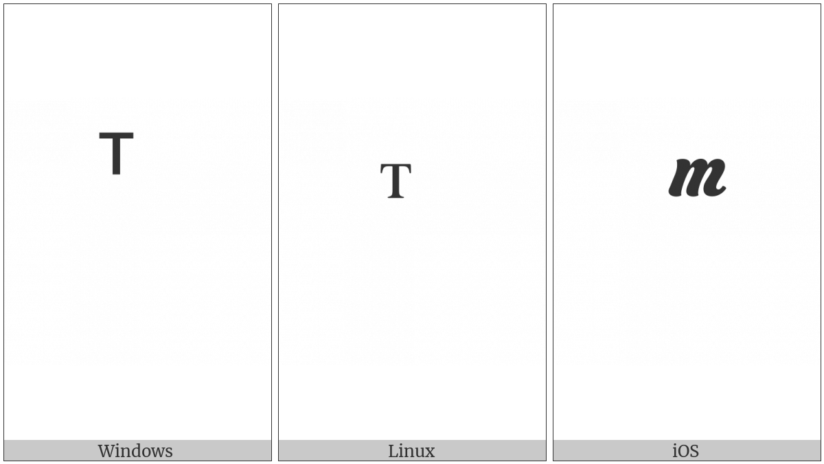 Combining Cyrillic Letter Te on various operating systems