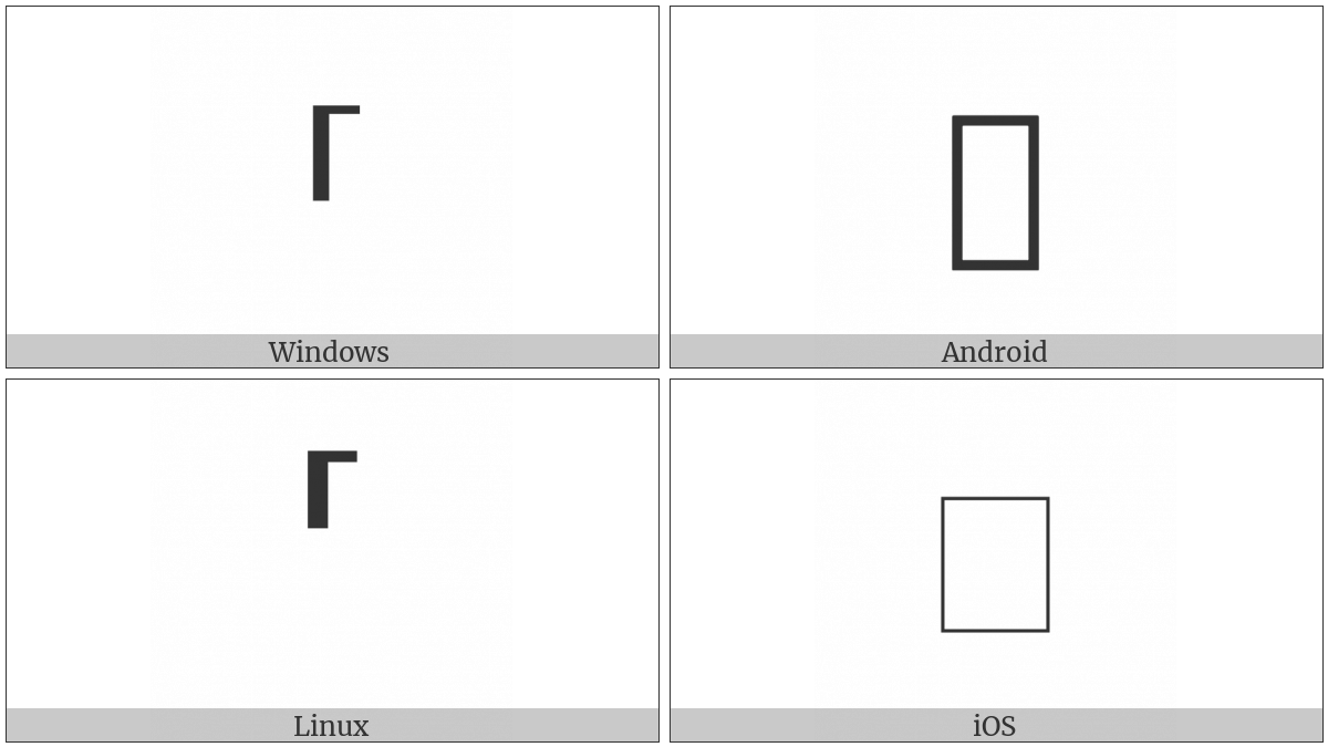 Top Left Half Bracket on various operating systems