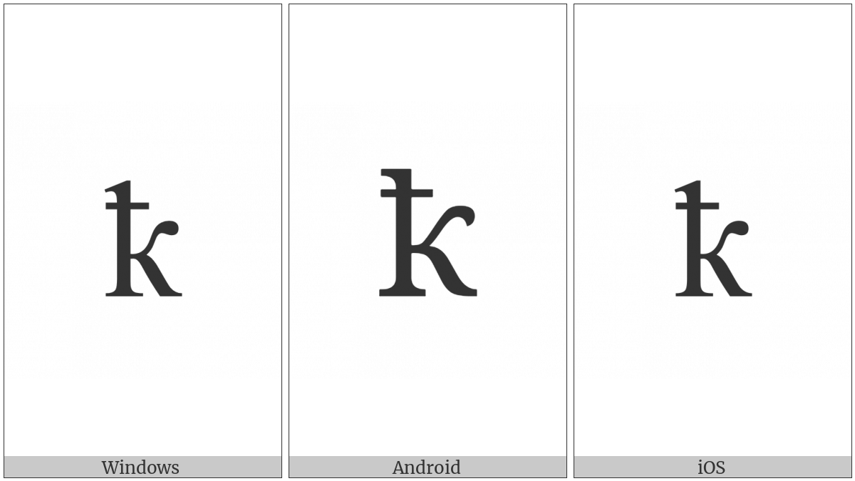 Cyrillic Small Letter Ka With Stroke on various operating systems