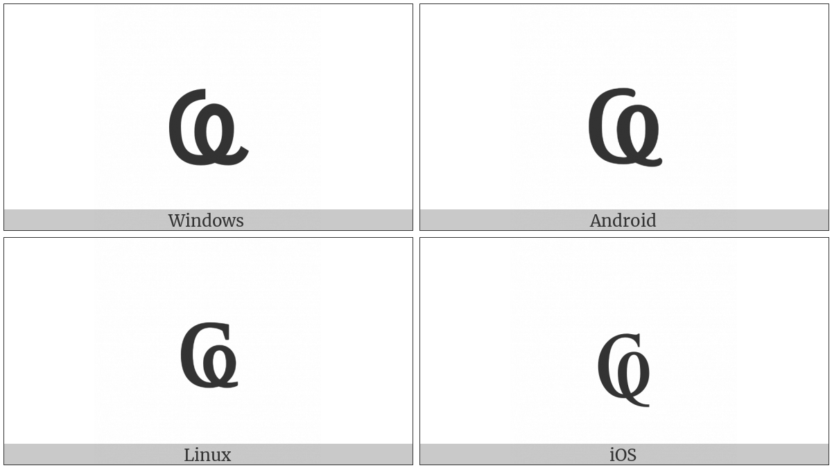 Cyrillic Small Letter Abkhasian Ha on various operating systems
