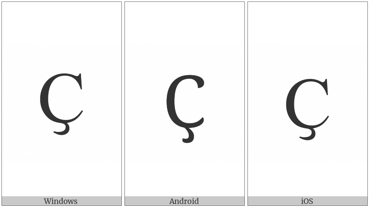 Cyrillic Capital Letter Es With Descender on various operating systems
