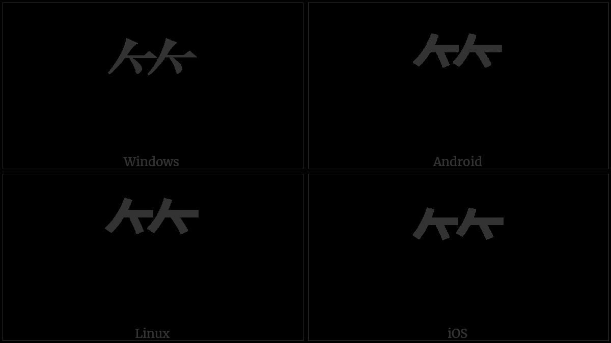 Cjk Radical Bamboo on various operating systems