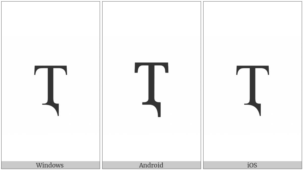 Cyrillic Capital Letter Te With Descender on various operating systems