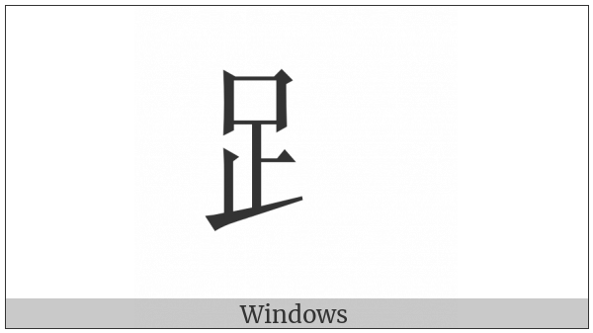 Cjk Radical Foot on various operating systems