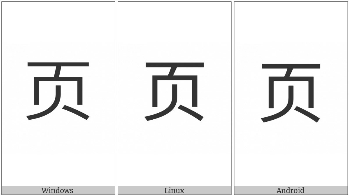 Cjk Radical C-Simplified Leaf on various operating systems