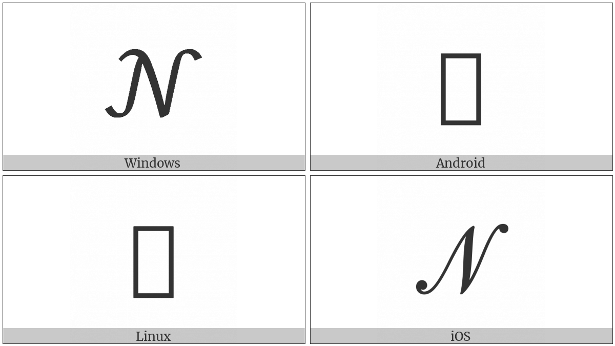 Mathematical Script Capital N On Various Operating Systems