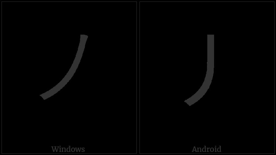 Kangxi Radical Slash on various operating systems