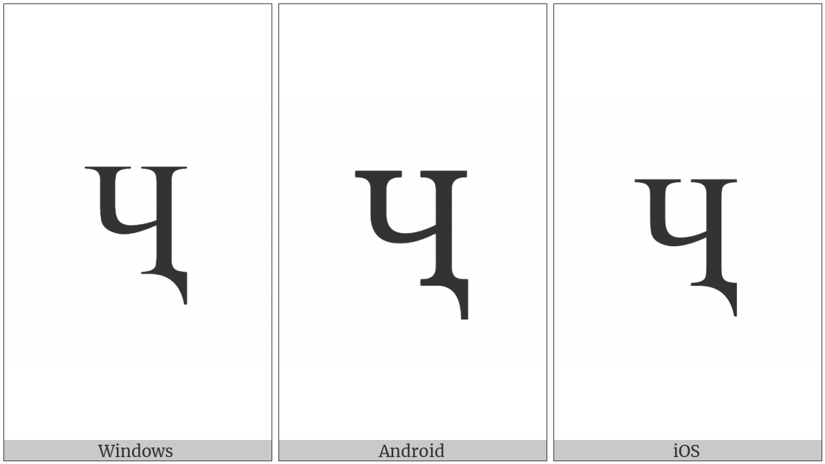 Cyrillic Capital Letter Che With Descender on various operating systems