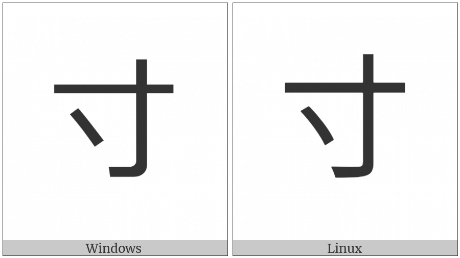Kangxi Radical Inch on various operating systems