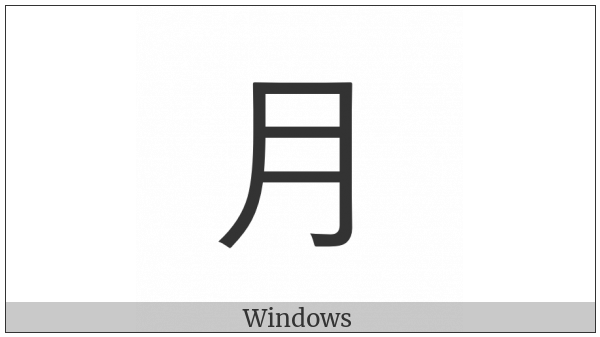 Kangxi Radical Moon on various operating systems