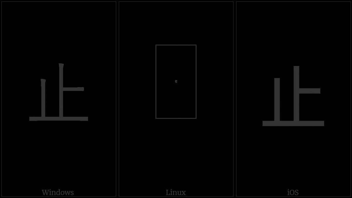 Kangxi Radical Stop on various operating systems