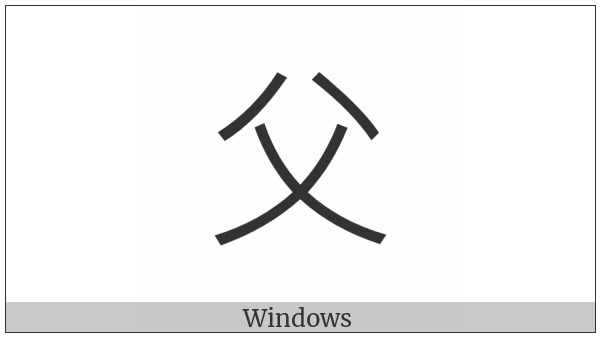 Kangxi Radical Father on various operating systems