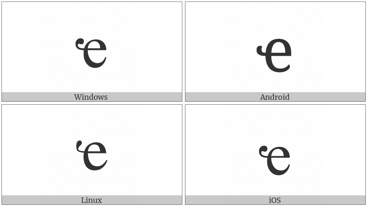 Cyrillic Small Letter Abkhasian Che on various operating systems