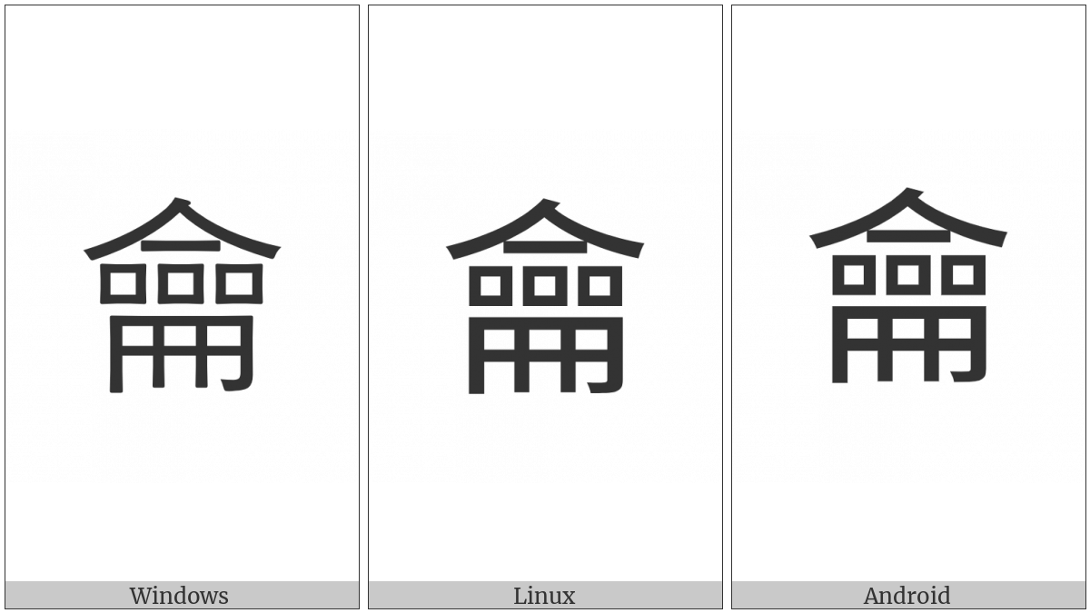 Kangxi Radical Flute on various operating systems