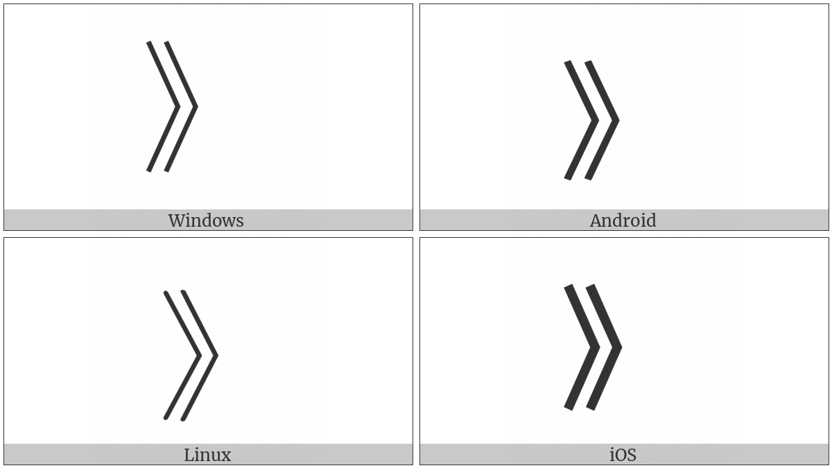 Right Double Angle Bracket on various operating systems
