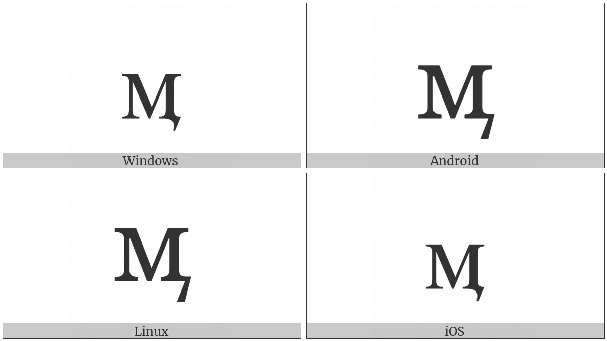 Cyrillic Small Letter Em With Tail on various operating systems